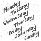 Hand drawn days of week on white background Stock Image