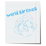 Hand-drawn de luchtvaartlijnen van de pictogramwereld Royalty-vrije Stock Foto's