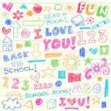 Hand-Drawn de volta aos elementos do Doodle do pastel da escola Imagens de Stock Royalty Free