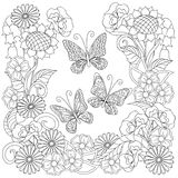 Hand drawn decorated butterflies into circle in ethnic style. Hand drawn decorated three butterflies and flowers in ethnic style isolated on white. Image for Stock Photography