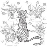 Hand drawn decorated cartoon cat with herb Stock Photo