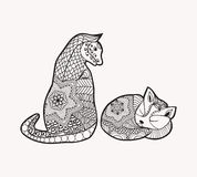 Hand drawn decorated cartoon cat and kitty in boho style Image. For adult or children coloring book, page, tattoo. Illustration. Colouring book page Royalty Free Stock Image