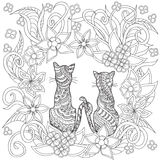 Hand drawn decorated cartoon cats into flowers Stock Photography