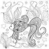 Hand drawn decorated cartoon fish. In boho style. Pencil drawing.  Image for adult or children coloring  book, page. Vector illustration - eps 10 Stock Photography