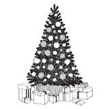 Hand drawn decorated Christmas Tree with gift boxes.. Black and white vector sketch to create holiday cards, backgrounds stock illustration