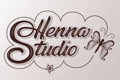 Hand drawn decorated lettering Henna Studio with shadow and highlights. Vector Ink illustration. Template for tattoo or stock image