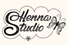 Hand drawn decorated lettering Henna Studio. Vector Ink illustration. Template for tattoo or mehndi studio. Elegant royalty free illustration
