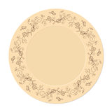 Hand drawn decorated saucer. In boho style. Template for decoration dishes,  plates, porcelain. All objects are isolated. Vector illustration - eps 10 Royalty Free Stock Photo