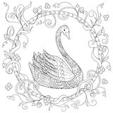 Hand drawn decorated swan into circle in ethnic style. Hand drawn decorated swan in ethnic style isolated on white. Image for adult and children antistress Stock Photo