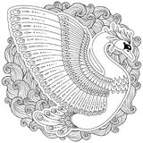 Hand drawn decorated swan.  Image for adult coloring books, page Stock Image