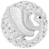 Hand drawn decorated swan.  Image for adult coloring books, page Stock Photos