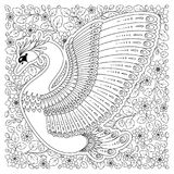 Hand drawn decorated swan.  Image for adult coloring books, page Stock Photography