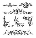 Hand drawn decoration elements, frames, page divider and border  vector illustration  Royalty Free Stock Photos
