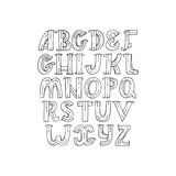 Hand drawn decorative alphabet in doodle creative stile, decorated with dots and stripes Stock Photography
