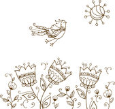 Hand drawn decorative bird and flowers. Background with hand drawn decorative flying bird, sun and flowers Stock Photo