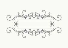 Hand drawn decorative border. In retro style. Elegant vintage calligraphic vignette or divider for greeting card, banner, retro party, wedding invitation, menu Royalty Free Stock Photography