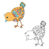 Hand drawn decorative chick. Vector illustration Royalty Free Stock Images