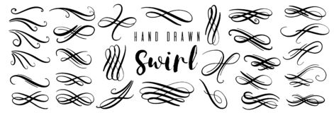 Hand drawn decorative curls and swirls collection. Vintage vector design elements. stock illustration