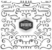 Hand drawn decorative curls, swirls, dividers collection. Stock Photo