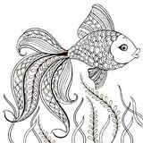 Hand drawn decorative fish for for the anti stress coloring page. Hand drawn black decorative fish isolated on white background.  Stock Photo
