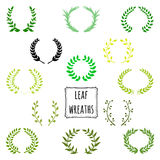 Hand drawn decorative floral set of 13 wreaths Stock Photography