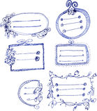 Hand drawn decorative flower borders Stock Photos