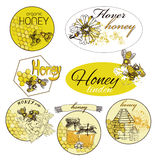 Hand drawn decorative icons set with beehive wax. Honey hand drawn decorative icons set with beehive wax cell flying bee  vector illustration Royalty Free Stock Photo
