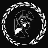Hand drawn decorative logo with head of the ancient Greek warrior, negative. Royalty Free Stock Photo