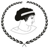 Hand drawn decorative logo with head of ancient Greek women. Stock Photography