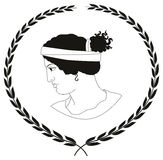 Hand drawn decorative logo with head of ancient Greek women. Royalty Free Stock Image