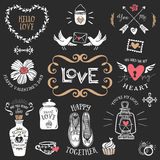 Hand drawn decorative love badges with lettering. Vintage vector Royalty Free Illustration