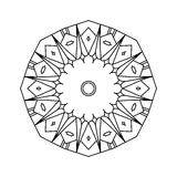 Hand-drawn decorative mandala illustration. Round black outline isolated on white background Royalty Free Stock Photos