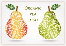 Hand drawn decorative ornamental pears made of swirl doodle. Vector abstract illustration of fruit logo. Green and red juice organ vector illustration