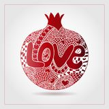 Hand drawn decorative ornamental pomegranate made of swirl doodles. Text love for Valentine day, 14 February. Vector abstract frui. T illustration for birthday Stock Photos