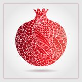 Hand drawn decorative ornamental pomegranate made of swirl doodles. Vector abstract illustration of fruit logo for branding, poste. R or packaging design Stock Images