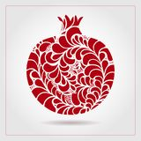 Hand drawn decorative ornamental pomegranate made of swirl doodles. Vector abstract illustration of fruit logo for branding, poste Stock Photography