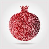 Hand drawn decorative ornamental pomegranate made of swirl doodles. Vector abstract illustration of fruit logo for branding, poste. R or packaging design Royalty Free Stock Image