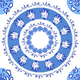 Hand drawn decorative round blue ornament with flowers and natur. Al elements on white background, texture, pattern, seamless background Royalty Free Stock Image