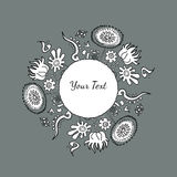 Hand drawn decorative round colorful ornament with flowers and n. Atural elements on dark-grey background with text, texture, pattern, seamless background Stock Photo