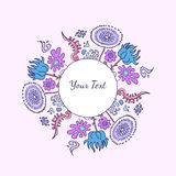 Hand drawn decorative round colorful ornament with flowers and n. Vector hand drawn decorative round colorful ornament with flowers and natural elements on white Stock Photo