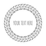 Hand drawn decorative round frame, tribal, boho Royalty Free Stock Image