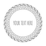 Hand drawn decorative round frame, tribal, boho Stock Image