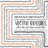 10 hand drawn decorative seamless pattern brushes. Vector set of 10 hand drawn decorative seamless pattern brushes with outer and inner corner tiles. Endless Royalty Free Illustration