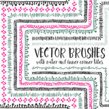 10 hand drawn decorative seamless pattern brushes. Vector set of 10 hand drawn decorative seamless pattern brushes with outer and inner corner tiles. Endless Vector Illustration