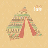 Hand Drawn Decorative Tent In Bohemian / Boho Style. Stock Images