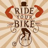 Hand drawn decorative textured vintage vector poster for bicycle Stock Photography