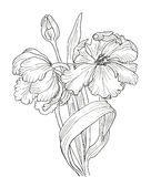 Hand drawn decorative tulips for your design Stock Image