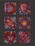 Hand-Drawn decorative Valentine's day icons Royalty Free Stock Image