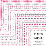 Hand drawn decorative vector brushes. Hand drawn decorative vector brushes with inner and outer corner tiles. All used pattern brushes are included in brush Stock Photos