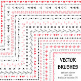 Hand drawn decorative vector brushes with inner and outer corner tiles. All used pattern brushes are included in brush palette. Hand drawn ink brushes royalty free illustration